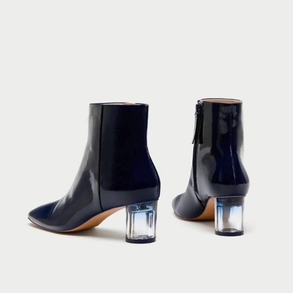 7f702b61925e ZARA Patent Finish Ankle Boots With Clear Heels